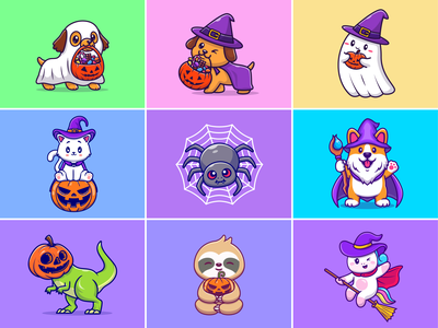 Halloween is coming🎃🍬🍭👻🍫 dog spider broom stick magic insect unicorn pumpkin ghost animal custome november halloween party dress up halloween character cute logo icon illustration