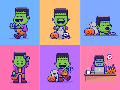 Cute Frankenstein🧟♂️🎃🕯️🍬☠️ 31 october halloween vibes zombie vs plant game character busy frankenstein candle candy pumpkin game character spooky ghost halloween frankenstein cute logo icon illustration