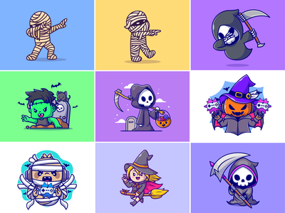 Random halloween🧟♂️☠️🎃 candy magic angry face scary face gaming frankenstein halloween custome halloween vibes mummy spooky pumpkin ghost halloween character cute logo icon illustration