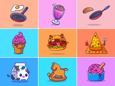 #RandomCatalyst part 21🍳🍦🧠🍔 pan flying food fast food drink monster milk pizza pancake egg brain ice cream breaksfast menu random things food cute logo icon illustration
