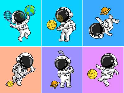 Astronaut sport🧑🏻🚀🌎🪐🏒 astroman badminton saturnus golf sky volley rocket space planet earth hokey game sports astronaut sport astronaut cute logo icon illustration