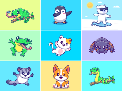 Animals project for client🐸🐧🐻❄🐍🕷️ animal play porcupine snake pet lizard sugar glider polar bears reptile zoo spider cat penguin frog animals custom animals cute logo icon illustration
