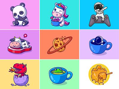 #RandomCatalyst part 22🦄🐮🪐🎮☕ honey frog cat house beef steak coffee cup saturnus planet cookies custom astronaut astronaut dragon panda animal cute logo icon illustration