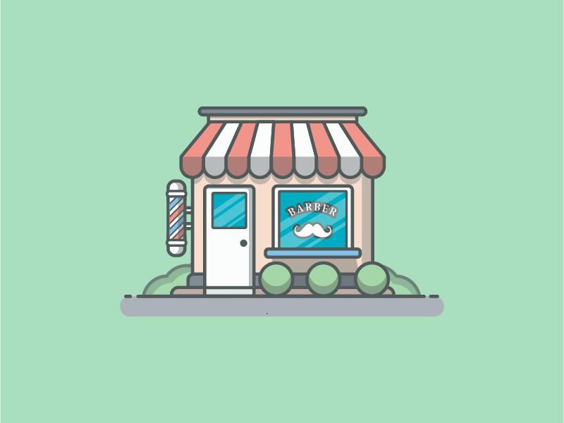 Barber shop° ✂💇 vector shots shop minimal lineart illustrator illustration icon ice flat dribbble design