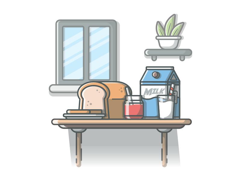 breakfast vibes! 🍞🍴 vector shots minimal milk lineart illustrator illustration icon flat dribbble design breakfast