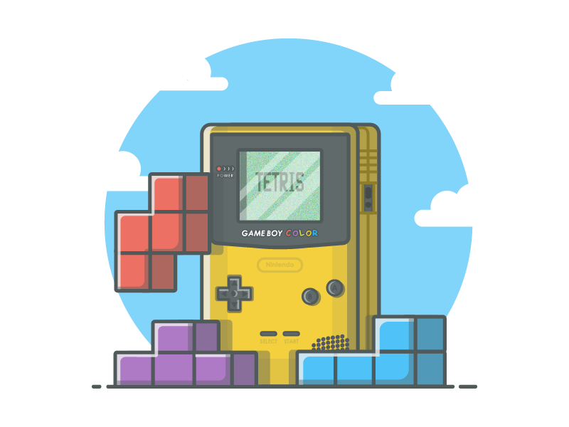 Tetris° 🎮 vector shots pixel tetris color illustration icon gameboy game flat dribbbler dribbble
