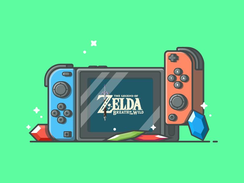 Nintendo switch! 🎮 vector zelda shots stone illustration icon game flat dribbbler dribbble switch nintendo