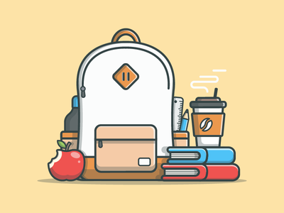 Educate yourself! 😉🍎 coffee vector lineart bag illustrator apple icon flat dribbble backpack education educate
