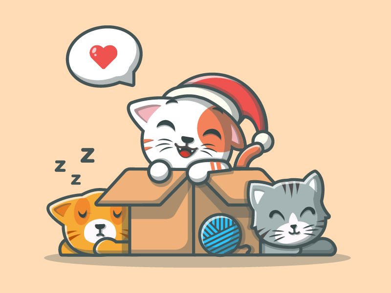 Cats~ 😽😸😼 vector kitten woll love illustrator illustration icons flat box dribbble cute cat