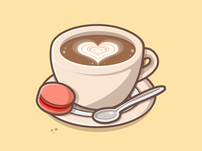 A cup of love 💙☕ vector chocolate spoon logo illustrator illustration icons flat dribbble macaron love coffee