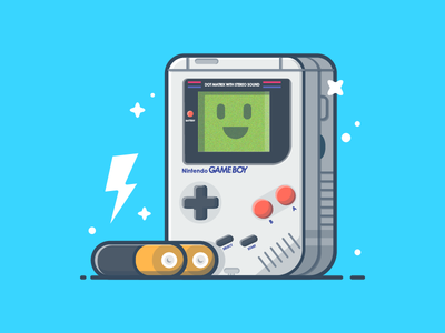 Game boy with battery 🔋🎮 play vector gameboy battery shots nintendo illustration icon game flat dribbbler dribbble