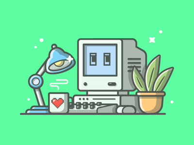 Oldie but goldie ~ 😁✌ vector old lamp shots plant illustration icon flat dribbble coffee love computer