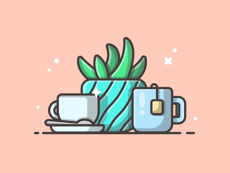 Coffee and tea° 😋👌 vector shots reading sweet illustration icon flat dribbble plant tea coffee
