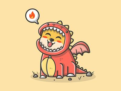 Lunar this year 🐲 x 🐕 😂✌ chinese dog fire shots cute dragon illustration icon flat dribbble lunar