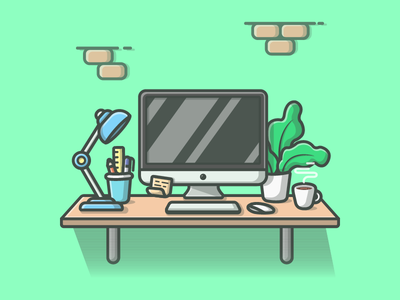 Workspace° 😋 💻☕ shots plant illustration icon flat coffee dribbble lamp ios mac workspace