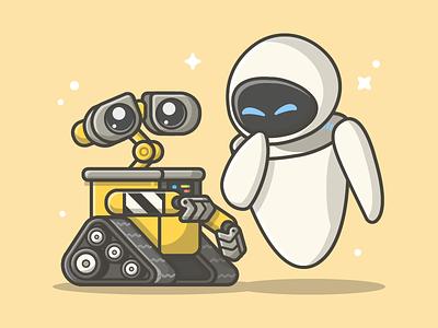 WALL-E Movie! 😋✌ movie shots pixar disney cute eve illustration icon flat dribbble wall-e