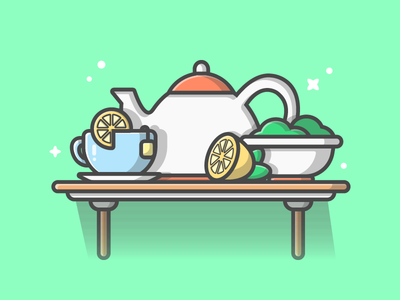 Tea! 😋☕🍋 table shots minimalist cute greentea illustration icon flat dribbble lemon tea