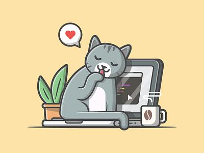 Awkward moment 😹 workspace coding plant laptop coffee illustration icon flat dribbble cute cat