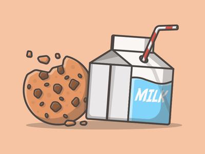 Just cookie and milk° 🍪🍼 vector cookies chocolate sweet illustration icons friend flat dribbble breakfast milk cookie