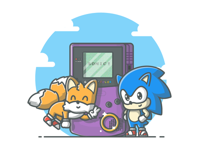 Sonic! 😉💙 vector shots tails sonic illustration icon gameboy game flat dribbbler dribbble color