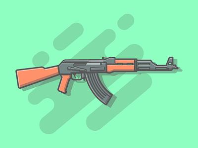 AK47 🔫😉 vector ak47 shots list illustration icon gym gun flat fire dribbbler dribbble