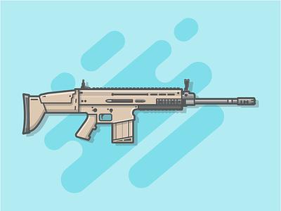 FN - SCAR 🔫😏 weapon vector shots scar illustration icon gun flat fire dribbbler dribbble fornite