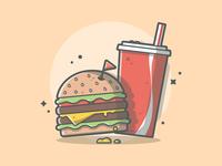 Burger and soda! 🍔😋