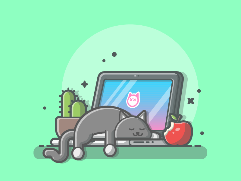 When you want to start work.......😽😹 workspace plant laptop illustration icon flat dribbble cute sleep apple cat