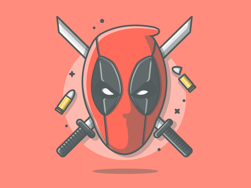 He is super.....but not hero 😝 bullet vector gun sword x-men illustration icon flat dribbble marvel x-force deadpool