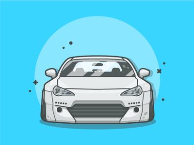 Subaru BRZ! 😋💨💨 vector drag sport shots illustration icon cool flat dribbble car