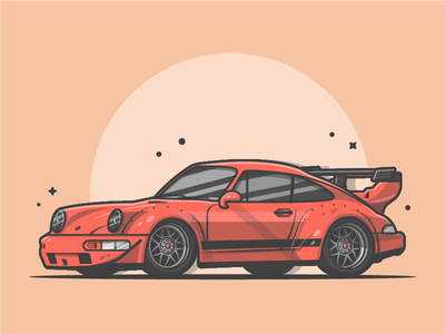 Porsche!! 🔥🚗😝 red cool vector sport shots illustration icon flat dribbble drag porsche car