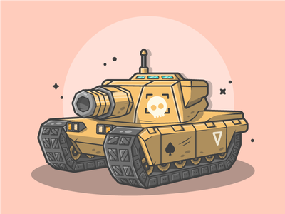 Mini Tank! 😀 vector soldier shots gun illustration icon flat dribbble fire war cannonball tank
