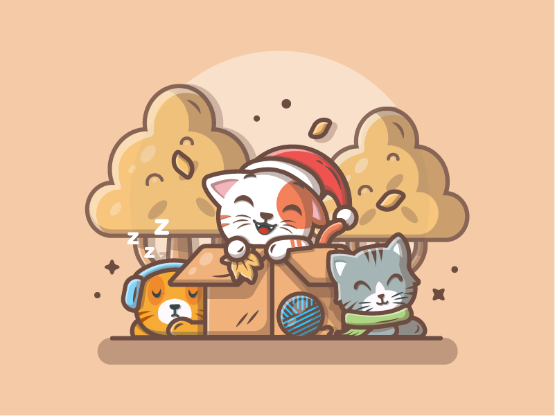 Cats and Autumn 😸🐱😽 icon logo lineart shots flat illustration dribbble lovely cute sleep leaves trees autumn cat box