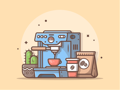 Wanna a cup of coffee? 😁☕ cup plant web sweet cactus machine coffee cute vector icon flat illustration dribbble