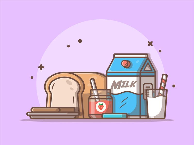 Have a good breakfast!!! 😁🍞🥛 bread jam milk breakfast cute ux logo vector flat icon illustration dribbble