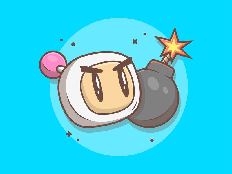 Bomberman! 😁💣 character bomb nintendo bomberman game logo cute shots flat icon illustration dribbble