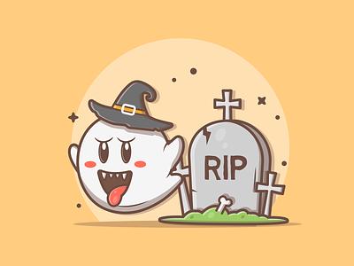 Booo!!! 👻 cute skull boo ghost rip halloween logo vector flat icon illustration dribbble