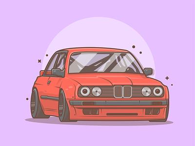BMW E30 👌🚗💨 sport racing e30 bmw car drag cute logo icon flat illustration dribbble