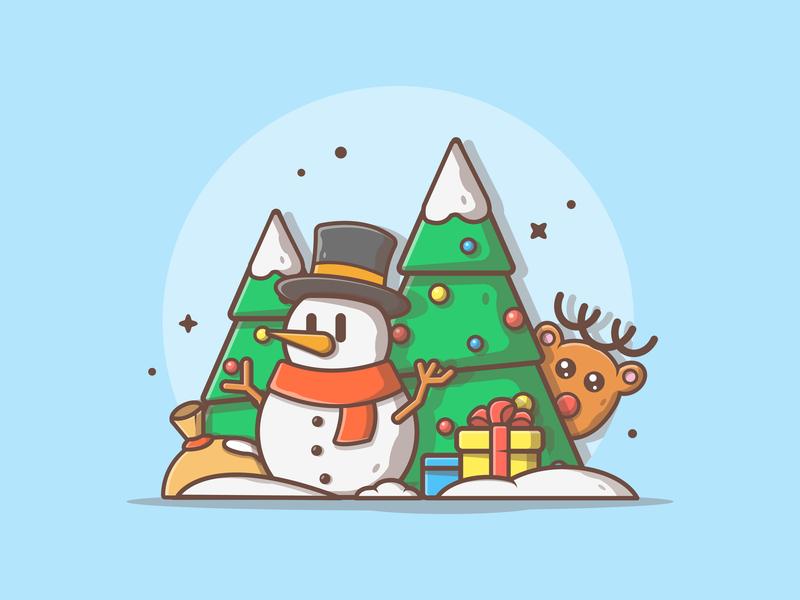 Happy Holiday! 😝❄️ ☃️ snow gift xmas tree snowman deer cute logo icon flat illustration dribbble