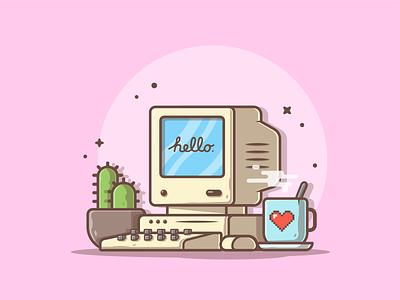 Enjoy the old days! 🤓☕🖥 love apple imac coffee macintosh logo lineart icon design flat illustration dribbble