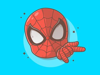 Spidey!!! 😁🕷🕸 cartoon web spider marvel spiderman cute logo design icon flat illustration dribbble