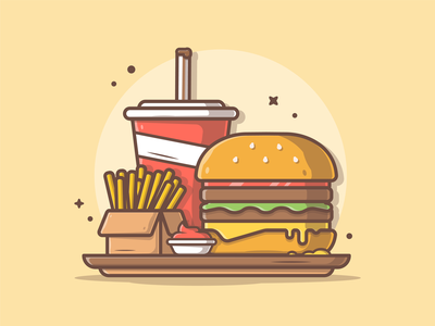 Combo menu! 🍔 🍟🥤 😅 food and drink food french fries ketchup soda burger logo design flat icon illustration dribbble