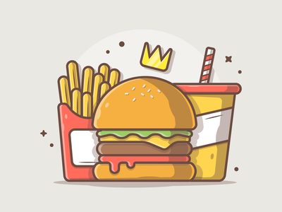 Burger King! 🤓🤔👑🍔 junkfood cola french fries soda burger king burger logo vector icon flat illustration dribbble