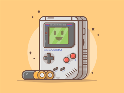Orignal GameBoy!! 🔋🎮 cartoon battery childhood nintendo game boy cute logo icon flat illustration dribbble