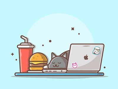 Another awkward moment 😹😽 sleep laptop soda burger cat cute logo design icon flat illustration dribbble