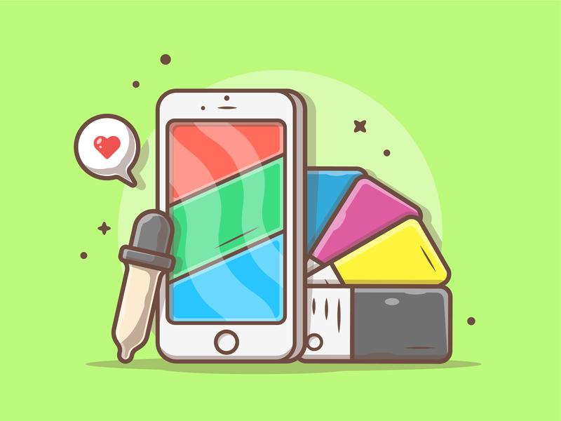 Colors 🤔👌 pantone love cmyk rgb phone color logo cute icon flat illustration dribbble