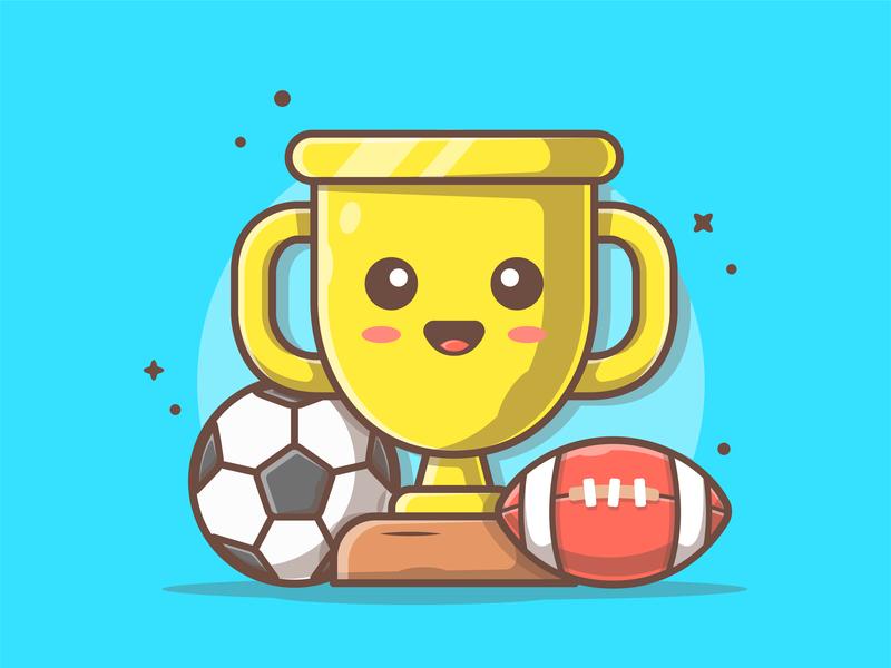 Sports! 😽⚽🏀🏈⚾ rugby happy trophy soccer sport shots logo cute icon flat illustration dribbble