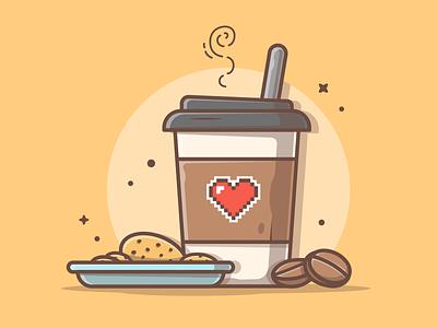 Everything that we need is just coffee break ☕😽 sweet tea love cookies coffee logo cute shots icon flat illustration dribbble