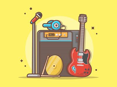 Rock on!!! 😵🤘 headphone sound drum guitar music minimal logo vector flat icon illustration dribbble