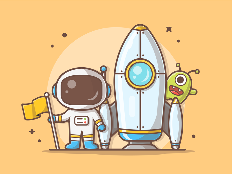 Astro Space! 👾🚀 space alien rocket astronaut minimal logo cute vector icon flat illustration dribbble